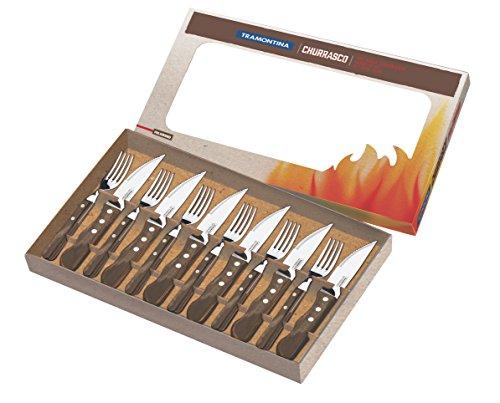 Tramontina 29899/239 Jumbo Steakbesteck, 12 teiliges Set, AISI 420, Echtholz, Edelstahl, Holz