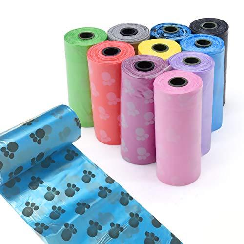 Vockvic Bolsas para Excrementos de Perro 10 Rollos, Grueso y a Prueba de Fugas Bolsas Poop Bag para Perro, Mascotas, Animales