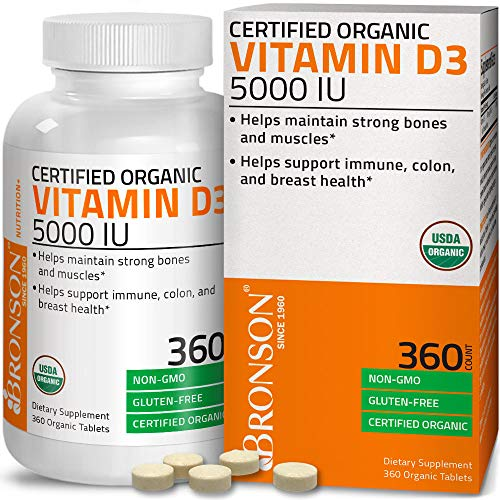Bronson Vitamin D3 5,000 IU (1 Year Supply) for Immune Support, Healthy Muscle Function & Bone Health, High Potency Organic Non-GMO Vitamin D Supplement, 360 Tablets