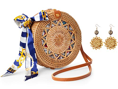 Handmade Crossbody Rattan Bag with Rattan Earrings and Scarf, Round Wicker Shoulder Straw Purse with Vegan Leather Straps, Handwoven Fashion Accessories, Best Gift Idea for Women