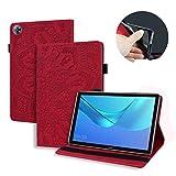 LMFULM® Hülle für Huawei MediaPad M5 (8,4 Zoll) PU Lederhülle Smart Hülle Ständer Schutzhülle Flip Cover Prägung Mandala Rot