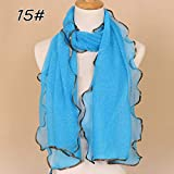 DJLHN Écharpe Femme Pas chère Vintage Wrap Scarf Shawl Fashion en Mousseline de Soie écharpe Unie - 15,200cm 55cmPrinted