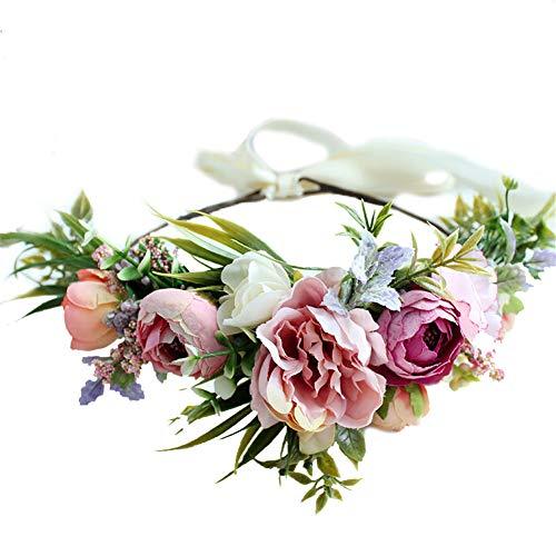 Gumolutin Women Flower Headband Wreath Crown Handmade Adjustable Halo Floral Wedding Garland Headband Photo Props