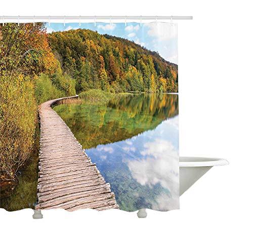 Yeuss House Decor Collection, Promenade im Nationalpark Plitvicer Seen im Herbst Kroatien Berglandschaft Bild, Polyestergewebe Bad Duschvorhang, Elfenbein Olive