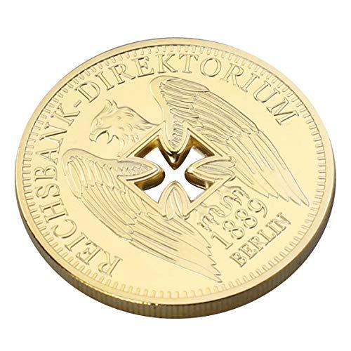 Amosfun Monedas conmemorativas chapadas en Oro del Banco Imperial Alemán Colgantes de Monedas del Desafío del Águila de la Cruz de Alemania