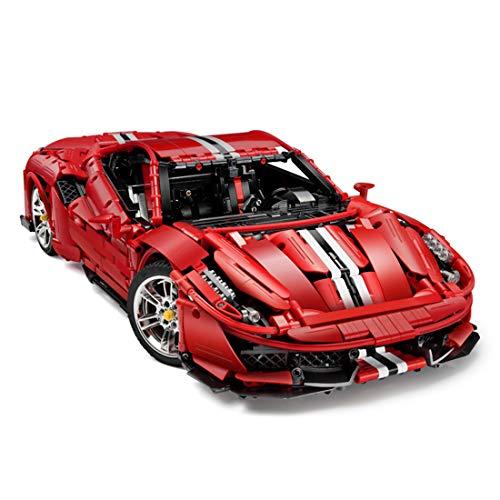 WEEGO Bloques de construcción para Ferrari 488 Pista, Technic Sportwagen Modelo compatible con Lego Technic