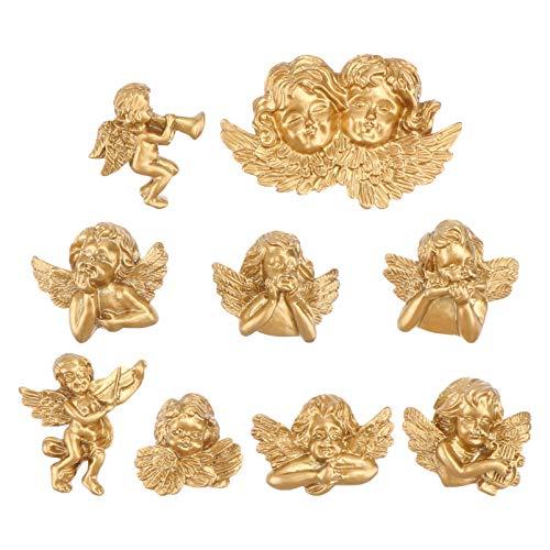 VILLCASE 9 abalorios de resina de ángel dorado con diseño de ángel en miniaturas de resina, adornos para manualidades, bisutería.
