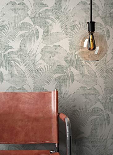 NEWROOM Tapete Weiß Vliestapete Dschungel - Blumentapete Floral Grün Blätter Palmen Mustertapete Modern Urwald Palmenblätter inkl. Tapezier-Ratgeber