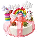 LAOZHOU Cloud Rainbow Unicorn Cake Toppers Kit Cake Decoration Kids Girls Cumplea?os Baby Shower Banquete de Boda Hornear Decoración Suministros (Juego de 5)