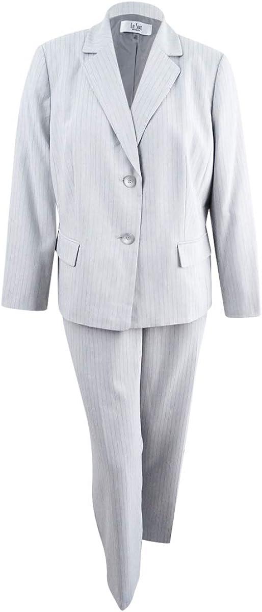 Le Suit Women's Plus Size Pinstripe 2 Button Pant Suit