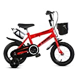 """QAZWC-A1 12"""" 14"""" 16"""" 18"""" Inch Kids Bike with Basket & Training Wheels for 2-8 Years Old Girls & Boys (Color : Red, Size : 18inch) -  NFJDKE"""