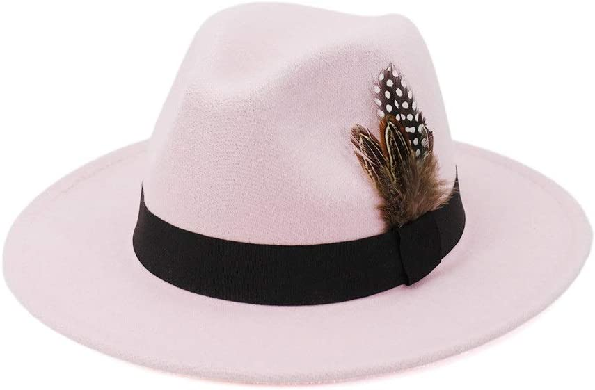no-branded Elegant Couple Cotton Felt Fedora Hat Party Holiday Wide Ladies Autumn Winter Feather Jazz Top Hat ZRZZUS (Color : Pink, Size : 56-58cm)