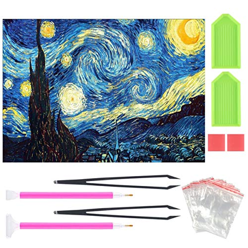 DIY 5D Diamond Painting Kit for Adult Kids, Full Drill Van Gogh Starry Sky Embroidery Painting for Home Wall Decor Painting Arts Craft