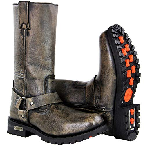 Xelement X99005 'Throttle' Mens Distressed Brown Performance Leather Boots - 9.5