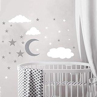 KINDPMA 3pcs Stickers Muraux Enfants Forme de Étoiles Nuage Lune Autocollant Murale Amovible et Etanche pour Décoration Ch...