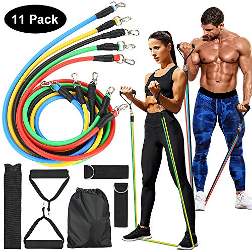tebrigo Resistance Bands Set,Exercise Bands with Handles,Door Anchor,Ankle Straps,Fitness Bands for Training,Home Workouts 11PCS