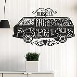 IDEAVINILO Vinilo Decorativo furgonetta Hippie con Mensajes de Paz. Color Negro. Medidas:...