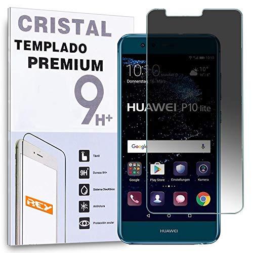 REY Protector de Pantalla Anti ESP�A para Huawei P10 Lite, Cristal Vidrio...