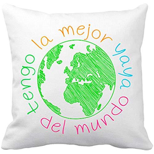 Diver Bebé Cojín con Relleno Tengo la Mejor yaya del Mundo - Blanco, 35 x 35 cm