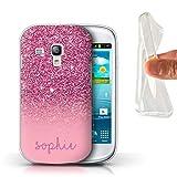 Personnalisé Coque pour Samsung Galaxy S3 Mini Effet Paillettes Coutume Rose Désign Transparent Doux Silicone Gel/TPU Souple Etui Housse Case