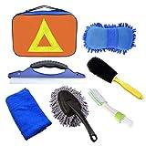 Phiraggit 7 Piezas Kits de Limpieza para Coche,Kit de Lavado de Autos con Bolsa (Esponja de Chenilla/Cepillo de Ruedas/Limpiador de Parabrisas de automóviles/Paño de Limpieza de automóviles)