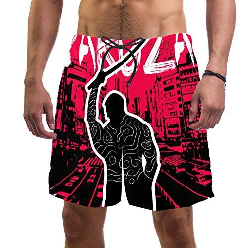 Yakuza Herren Strand-Shorts Hintergrund Badehose Schnell trocknend Elastisch Badeanzug Surfen Shorts L Gr. XL, mehrfarbig