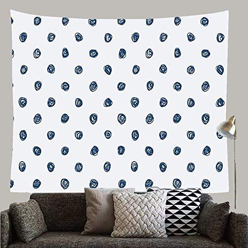 Azulejos de Punto sin Fin de Delft Azul índigo Pared Abstracta Azul Denim Dibujado Patrón Desigual Polka Amsterdam Tapiz Personalizado Tapiz para Sala Colcha Sala de Estar
