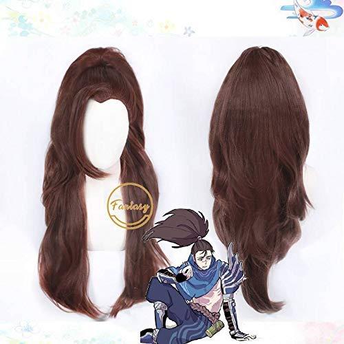 Yasuo LOL True Harm Cosplay Long Brown Wig Halloween Heat Resistant Synthetic Hair + Free Wig Cap