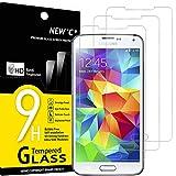 NEW'C Protector de Pantalla para Samsung Galaxy S5, Antiarañazos, Antihuellas, Sin Burbujas, Dureza 9H, 0.33 mm Ultra Transparente, Vidrio Templado Ultra Resistente