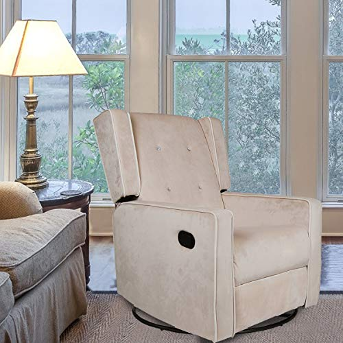 Polar Aurora Swivel Gliding Rocker Recliner Suede Tufted Upholstered Glider for Nursery, Study and Living Room/Microfiber 6 Color (Off White)