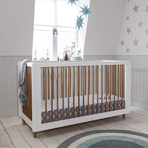 Siena Wooden Cot Bed (Tutti Bambini) 3 in 1 Convertible Baby Cot Bed and Toddler Bed in in Stylish White and Beech