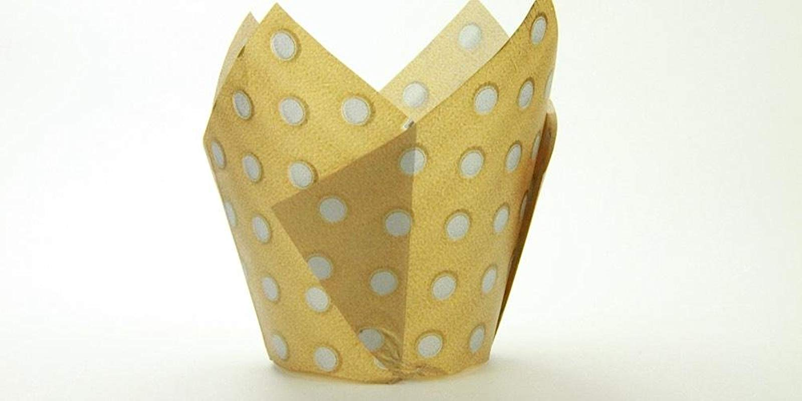 250pc Tulip Liner Gold With Silver Dots