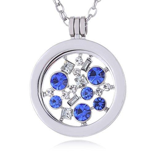 Morella Damen Halskette 70 cm Edelstahl mit Amulett und Coin 33 mm Universum mit Zirkoniasteinen blau in Schmuckbeutel