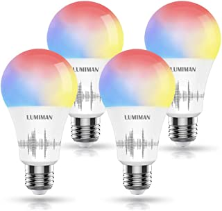 Smart WiFi Light Bulb, LUMIMAN LED RGBCW Color Changing, Compatible with Alexa, Siri and Google Home Assistant, No Hub Required, A19 E26 Multicolor 4 Pack
