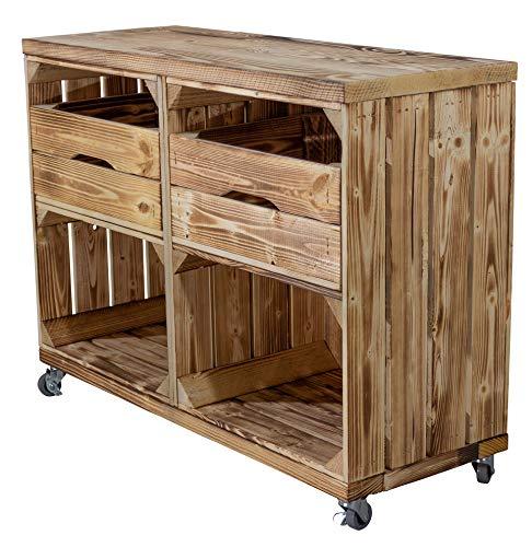 Truhenking Regal aus Zwei geflammte Kisten mit Zwei Schubladen und bohlenbrett in geflammt, auf Rollen 61x80x31cm Obstkisten Weinkisten