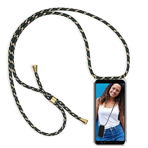 Handykette Kompatibel mit Huawei Honor View 10 Hülle, Smartphone Necklace Schutzhülle, mit Band Stylische Transparent Stoßfest Kratzfest Silikon Handyhülle - Schnur mit Case zum Umhängen in Grün