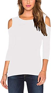 Mippo Women's Long Sleeve 3/4 Sleeve Off The Shoulder Cold Shoulder Blouse Tops Shirt