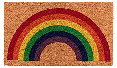 New KAF Home Coir Doormat with Heavy-Duty, Weather Resistant, Non-Slip PVC Backing | 17 by 30 Inches, 0.6 Inch Pile Height | Perfect for Indoor and Outdoor Use (Rainbow)