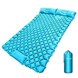 Luxtude Double Sleeping Pad, Queen Size Camping Mat with Pillow for 2 Person, Foot Pump Inflating Camping Pad, Waterproof Sleeping Mat, Lightweight Air Mattress for Backpacking, Car, Hiking, Tent