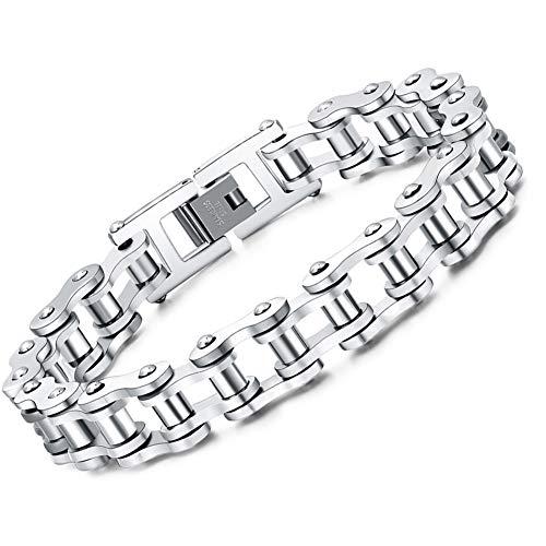 Faysting EU Bracciale catena in acciaio inox moto personalizzata roccia stile degli uomini (argento)
