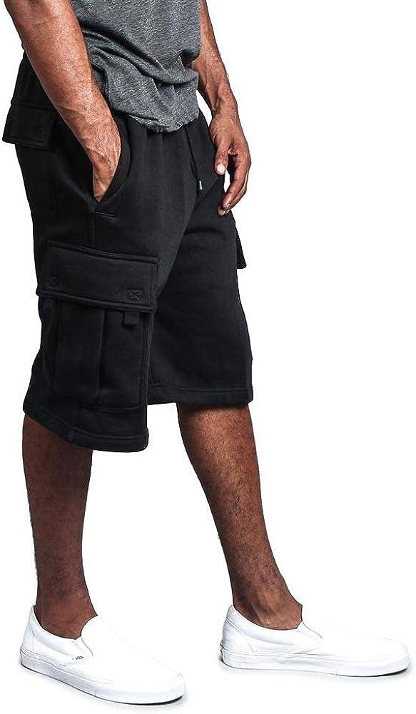 G-Style USA Men's Solid Fleece Heavyweight Cargo Shorts