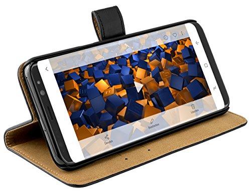mumbi Echt Leder Bookstyle Hülle kompatibel mit Samsung Galaxy S8 Hülle Leder Tasche Hülle Wallet, schwarz