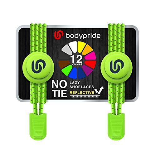 bodypride Premium Lazy Laces [ 12 Farben ] Elastische Schnellverschluss - Schnürsenkel ohne Binden   Schnellschnürsystem mit Reflektoren für Sport, Marathon, Triathlon, Kinder, Senioren   Neon Grün