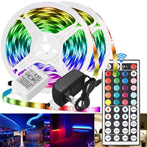 2 Roll of 16.4ft Led Strip Lights 32.8ft Long Led Lights for Bedroom 5050 RGB Color Changing Room Lights for tv/Decorations, 12v Smart Dimmable Stardust Gaming Led Tape Lights with Remote (Colorful)