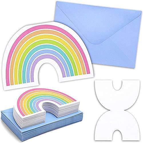 Paper Junkie Einladungskarten Regenbogen (36 Stück) - 300 g/m², Gestanzt - Für Kindergeburtstage, als Grußkarten, Briefumschläge Inklusive - Mehrfarbig, 10,2 x 15,2 cm
