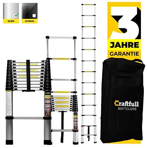 Craftfull Aluminium Teleskopleiter - Tragetasche - 2/2,6/2,9/3,2/3,8/4,1/4,4 Meter - Alu Leiter Trittleiter (2.6 Meter Soft Close)