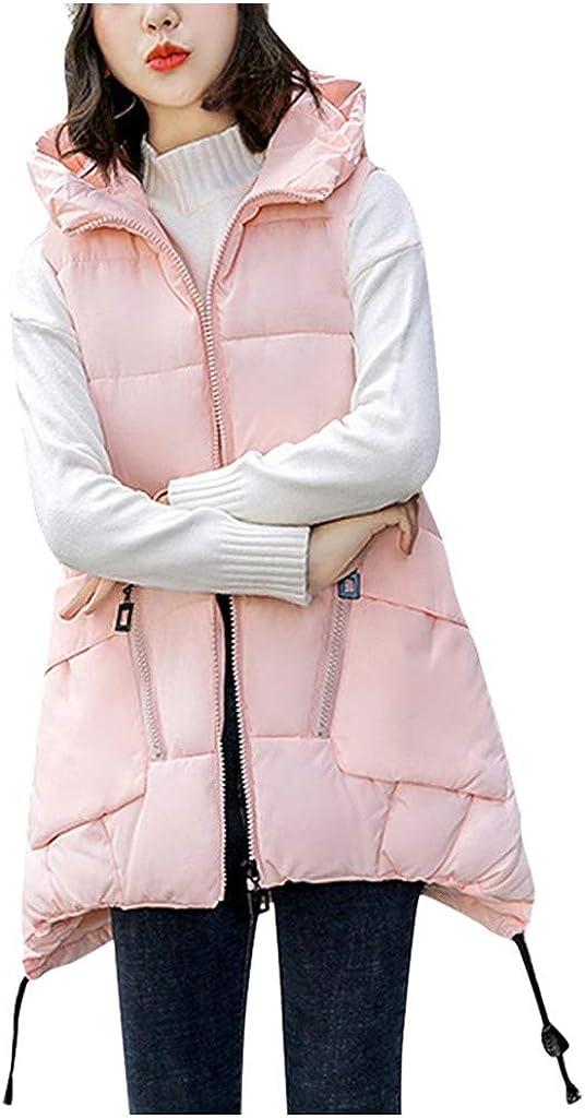 TRENDINAO Women Hooded Warm Winter Puffer Vest Mid Length Down Gilet Water Resistant Sleeveless Padded Waistcoat Jacket