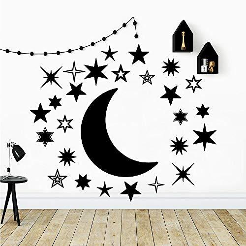Hermosas pegatinas de pared de luna para habitación de niño, decoración de dormitorio, pared, calcomanía creativa, pegatina de fondo A4 57x67cm
