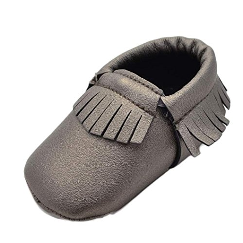 Ecosin Baby Tassels Shoes Soft Sole Snow Boot Soft Crib Shoes Toddler Moccasin Boots Beige, 0~6 Months