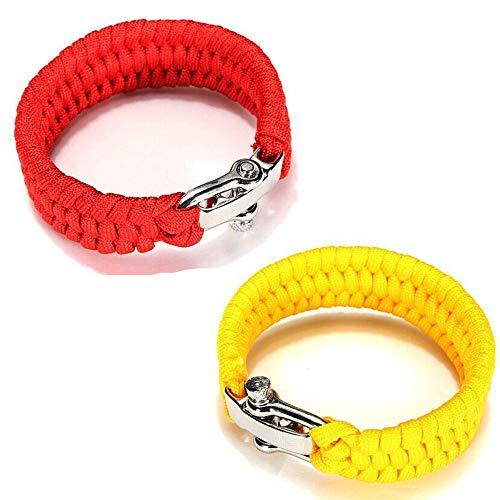 para-Armband – Zwei Armbänder aus geflochtenem Paracord – Größe verstellbar für Handgelenke von 18 bis 20 cm mit Verschluss aus Edelstahl – für Damen und Herren - Rouge et Jaune
